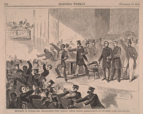 Mob Action to expel Negro speakers at Tremont Temple, Boston