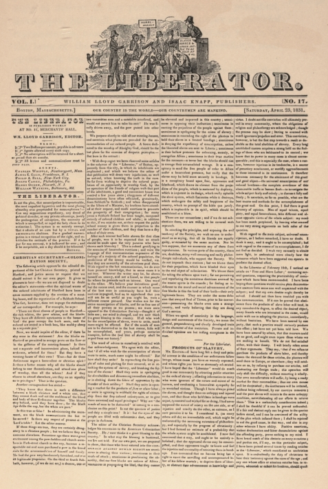 Page 1 of The Liberator, No. 17, April 23, 1831